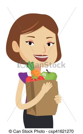 Vectors Illustration of Happy woman holding grocery shopping bag.