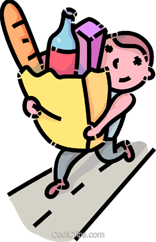 boy carrying a bag of groceries Royalty Free Vector Clip Art.