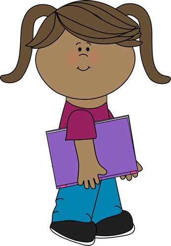 Child Carrying Books Clipart.