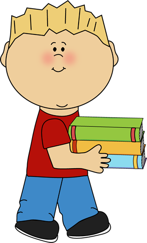 Boy carrying school books from MyCuteGraphics.