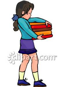 Woman Carrying Stack Of Books Clipart.