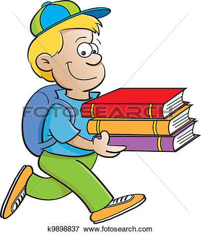 Clipart of Boy carrying books k9898841.