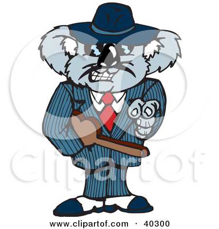 Clipart Illustration of a Mafia Koala Pointing And Carrying A.