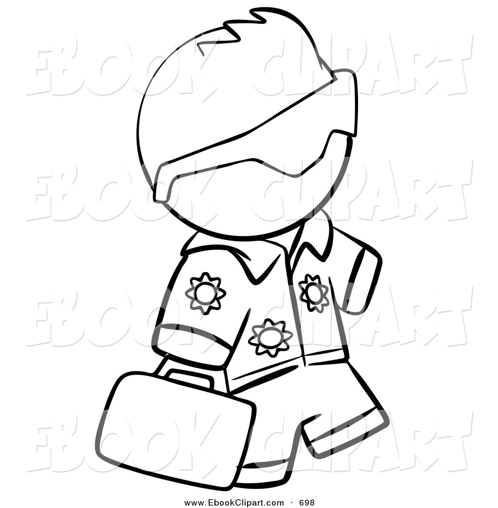 Vector Clip Art of a Black and White Human Factor Hawaiian Tourist.
