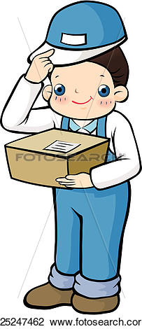 Clip Art of delivering, carrying, package, case, delivery.