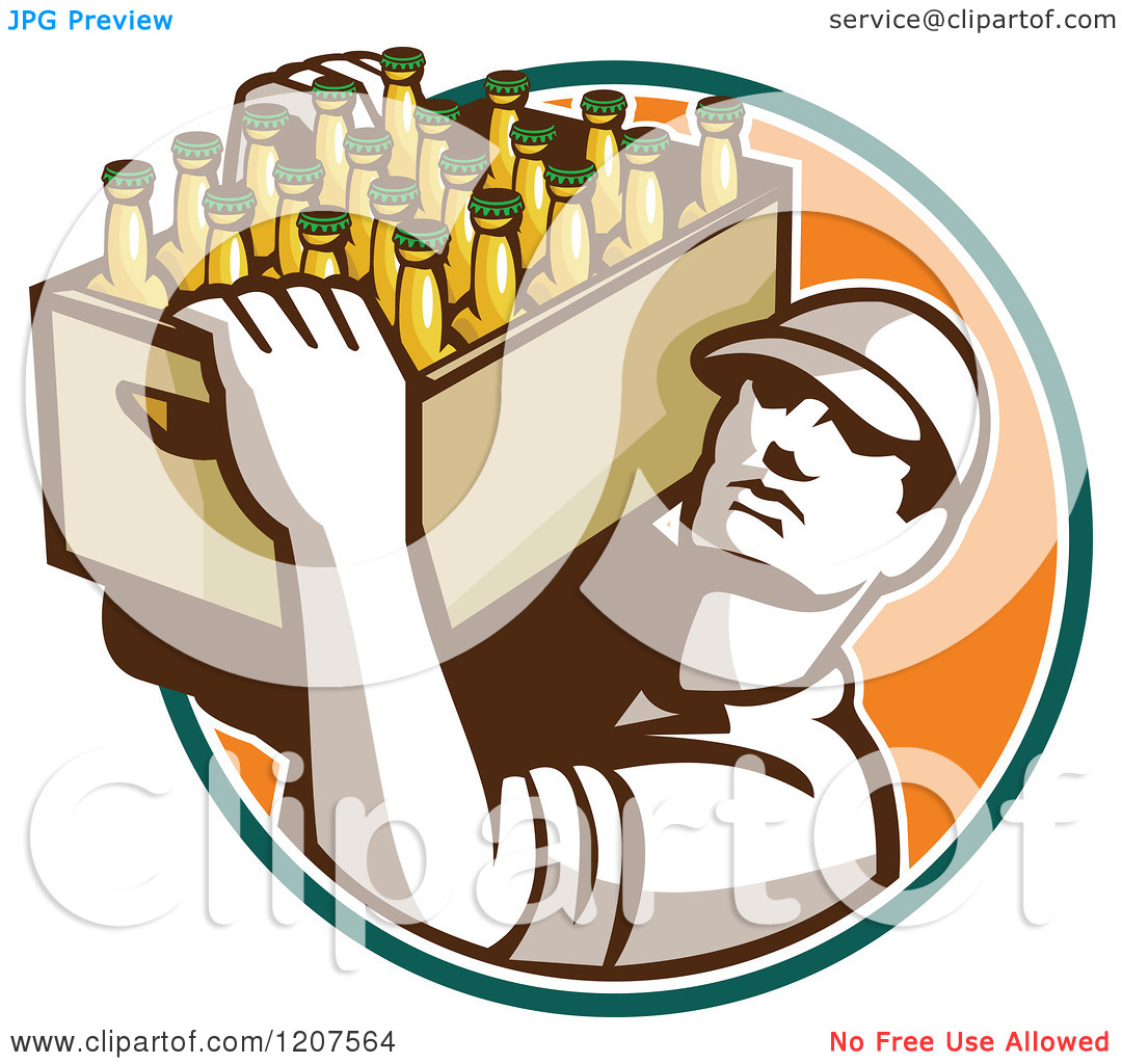 Clipart of a Retro Worker Carrying a Case of Beer Bottles.