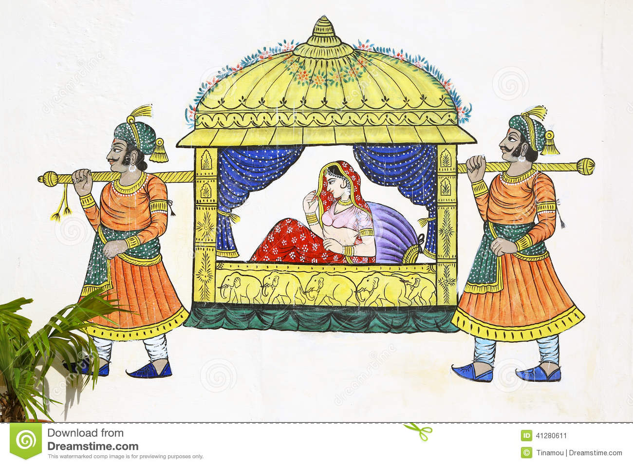 Painting Of Sedan Chair On Udaipur Wall Stock Photo.