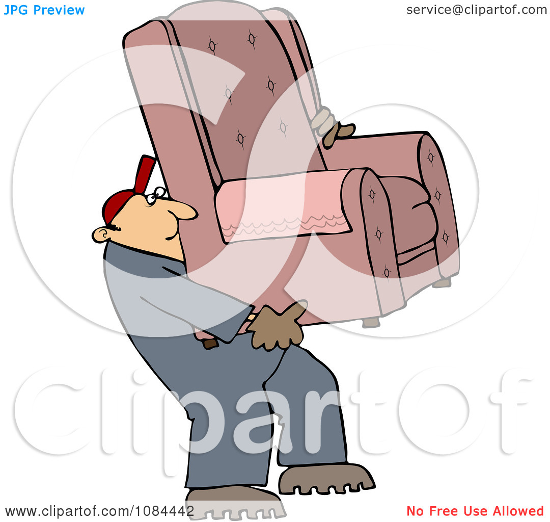 Clipart Furniture Repo Or Delivery Man Carrying A Chair.