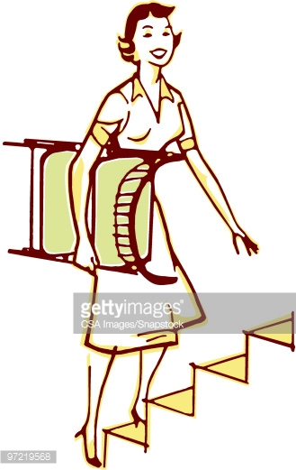 Woman Carrying Chair Stock Illustration.