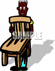 Black Kid Carrying a Chair.