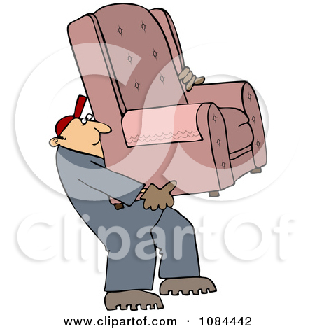 Clipart Outlined Furniture Repo Or Delivery Man Carrying A Chair.