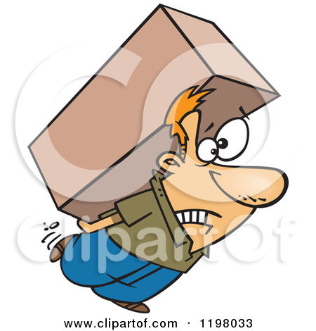 Man carrying packages clipart.