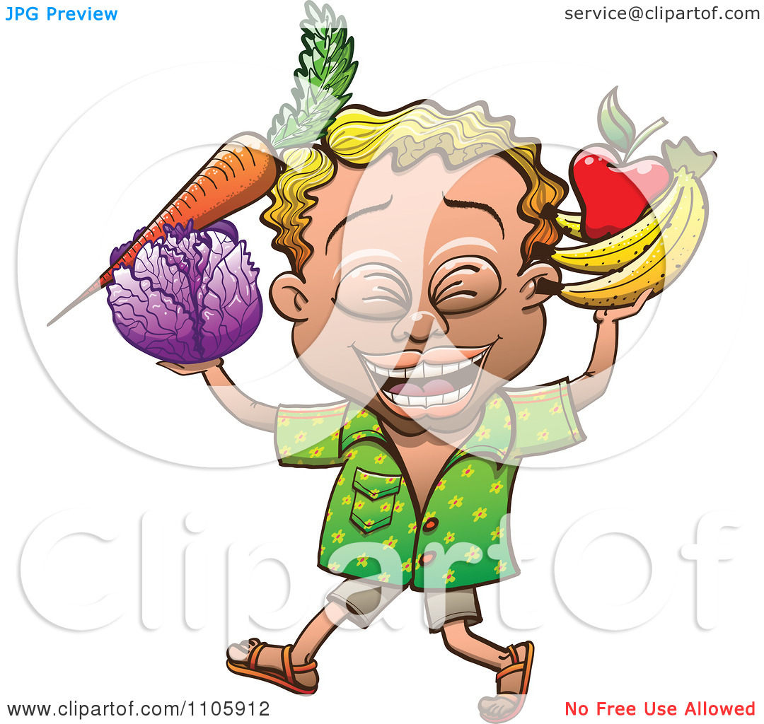 Clipart Happy Blond Man Carrying Fruit And Vegetables.