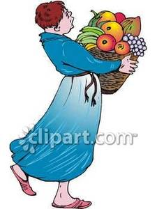 Carrying A Basket of Fruit.