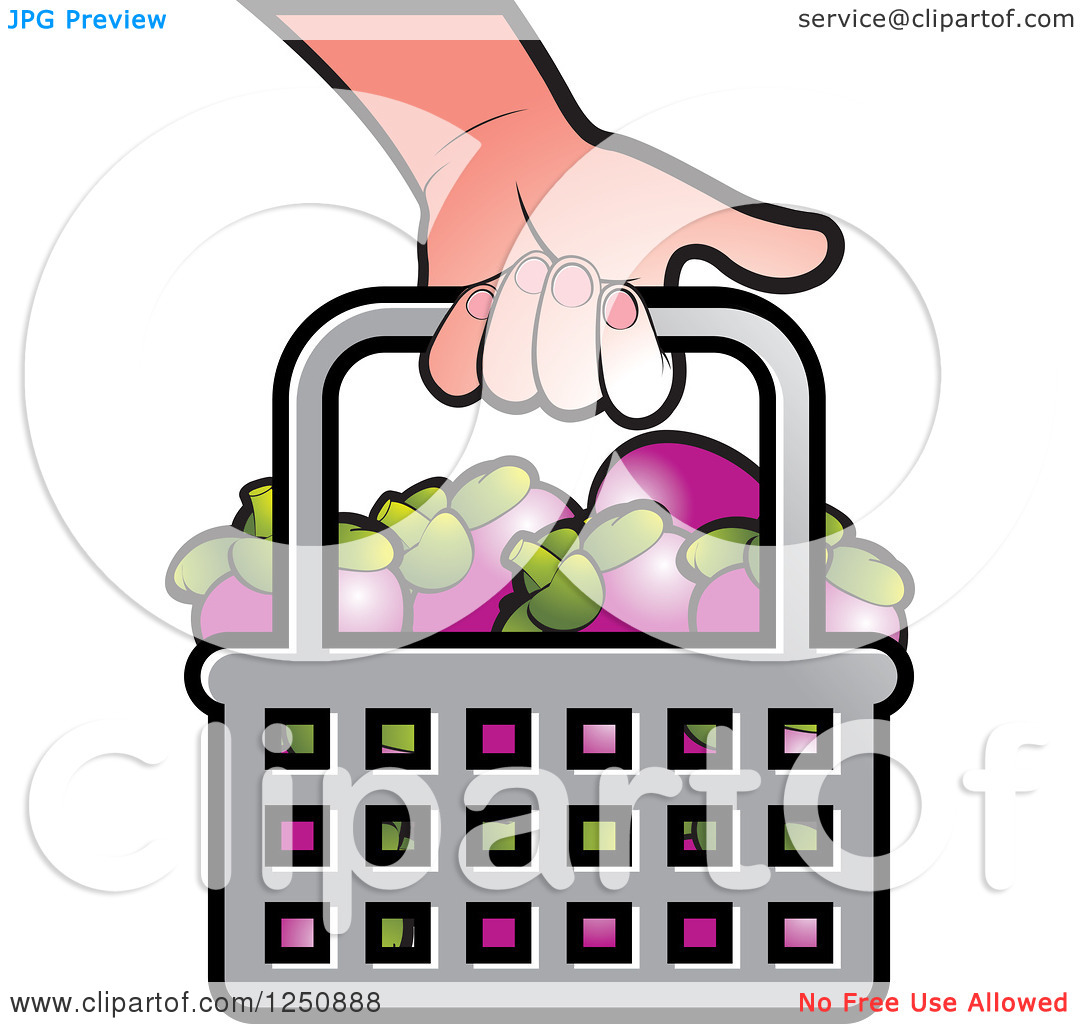 Clipart of a Hand Carrying a Shopping Basket Full of Mangosteen.