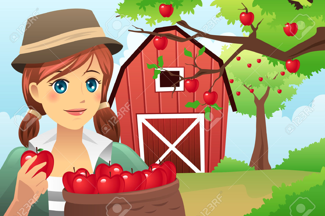 A Vector Illustration Of Woman Carrying A Basket Of Fruit After.