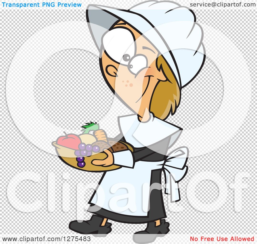 Cartoon Clipart of a Happy Thanksgiving Pilgrim Caucasian Girl.