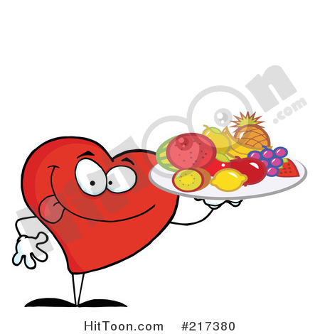 Heart Clipart #217380: Red Heart Carrying a Fruit Tray by Hit Toon.