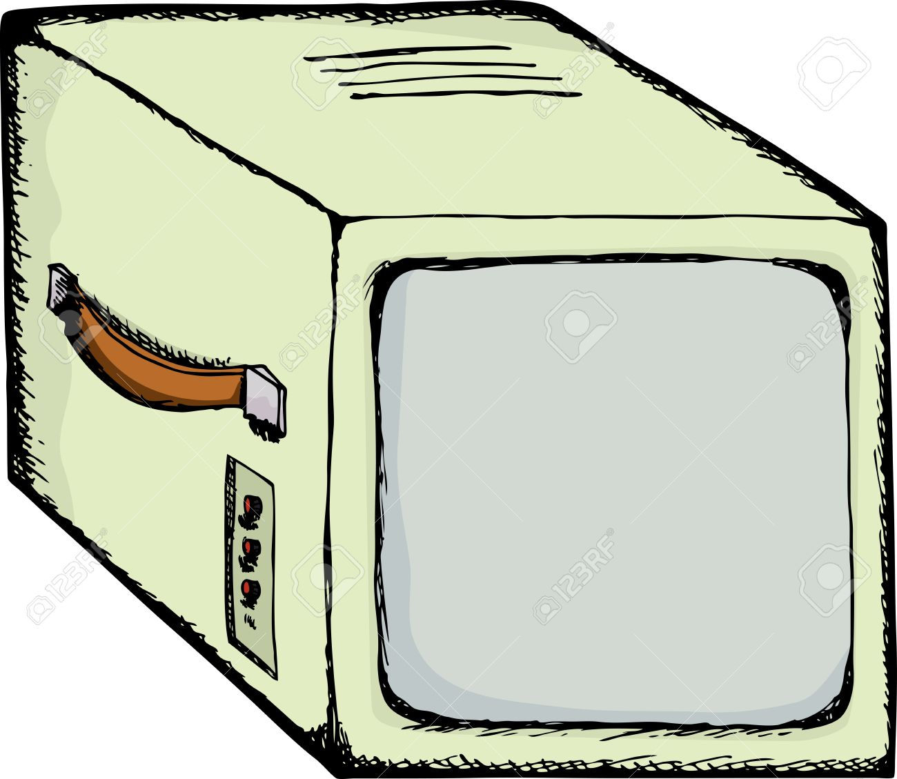 Drawing Of A Vintage Video Security Monitor With Carrying Handle.