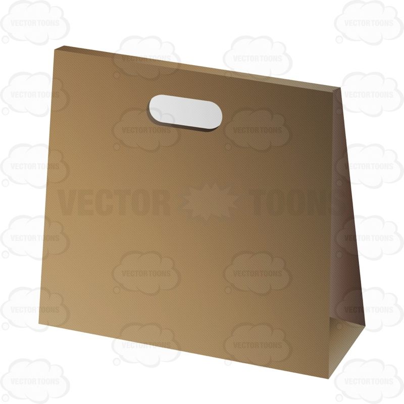 Cardboard Box With Carrying Handle May Be Used For Food Cartoon.