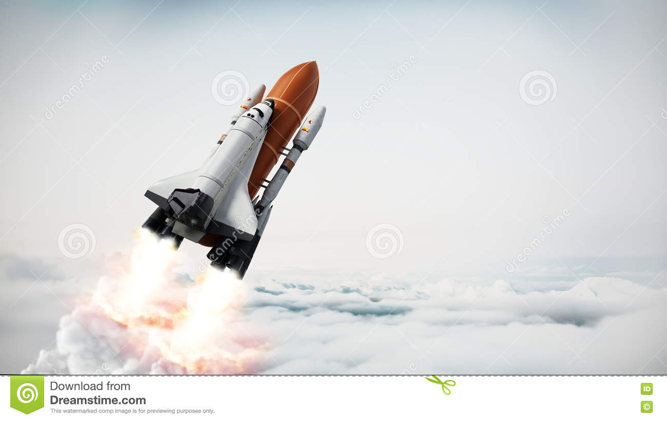 Rocket Carrying Space Shuttle Launches Off. Stock Illustration.