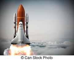 Rocket carrying space shuttle launches off 3d illustration Clipart.