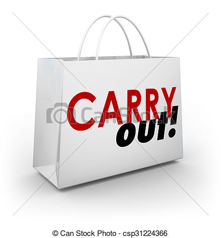 Stock Illustration of Carry Out Dining Restaurant Shopping Bag.