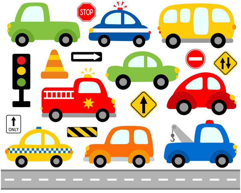Cute Cars Digital Clip Art, Transportation, Road Signs Illustration.