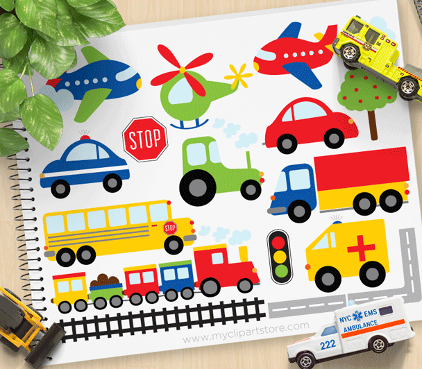 Trains Planes Trucks Clipart.