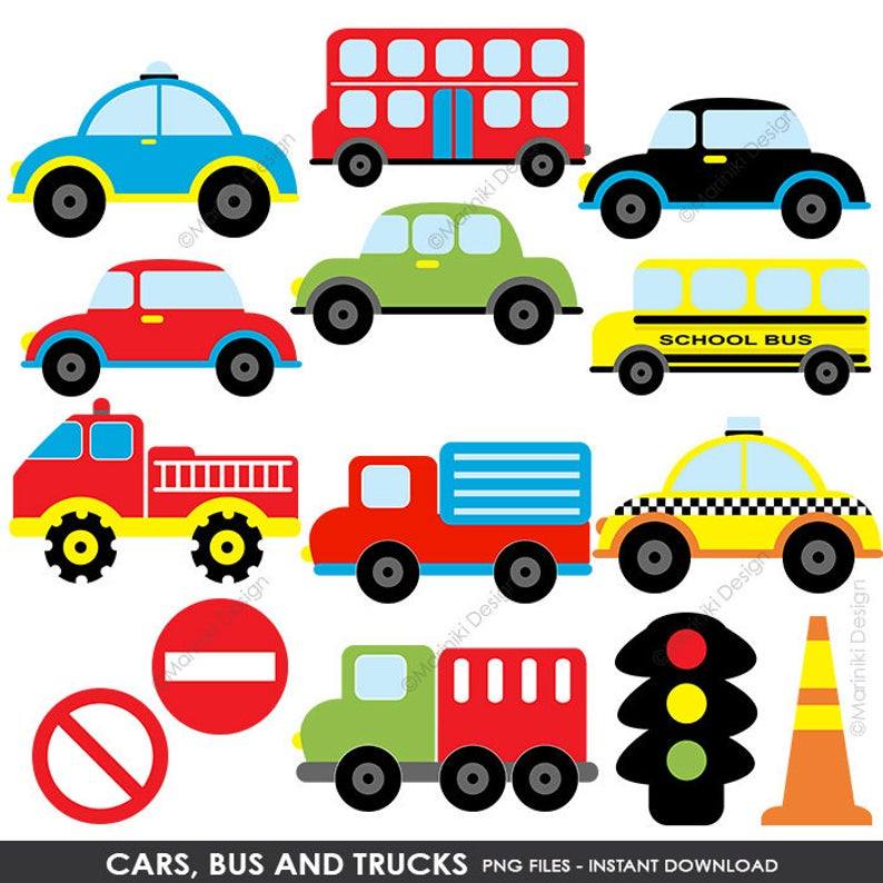 Cars Bus Trucks Clipart, Transportation Clip Art, On the Road, Road Sign  Boys Graphic for Craft & Scrapbook INSTANT DOWNLOAD CLIPARTS C122.