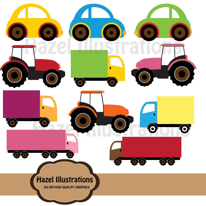 Digital toy cars trucks clipart. $3.00, via Etsy..