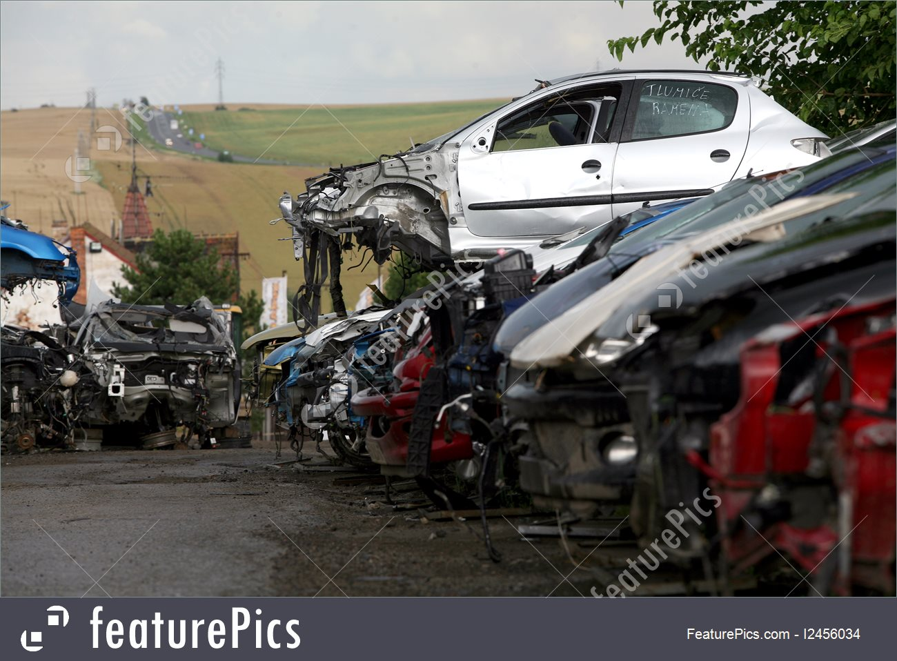 Car Cemetery With Many Broken Cars Image.