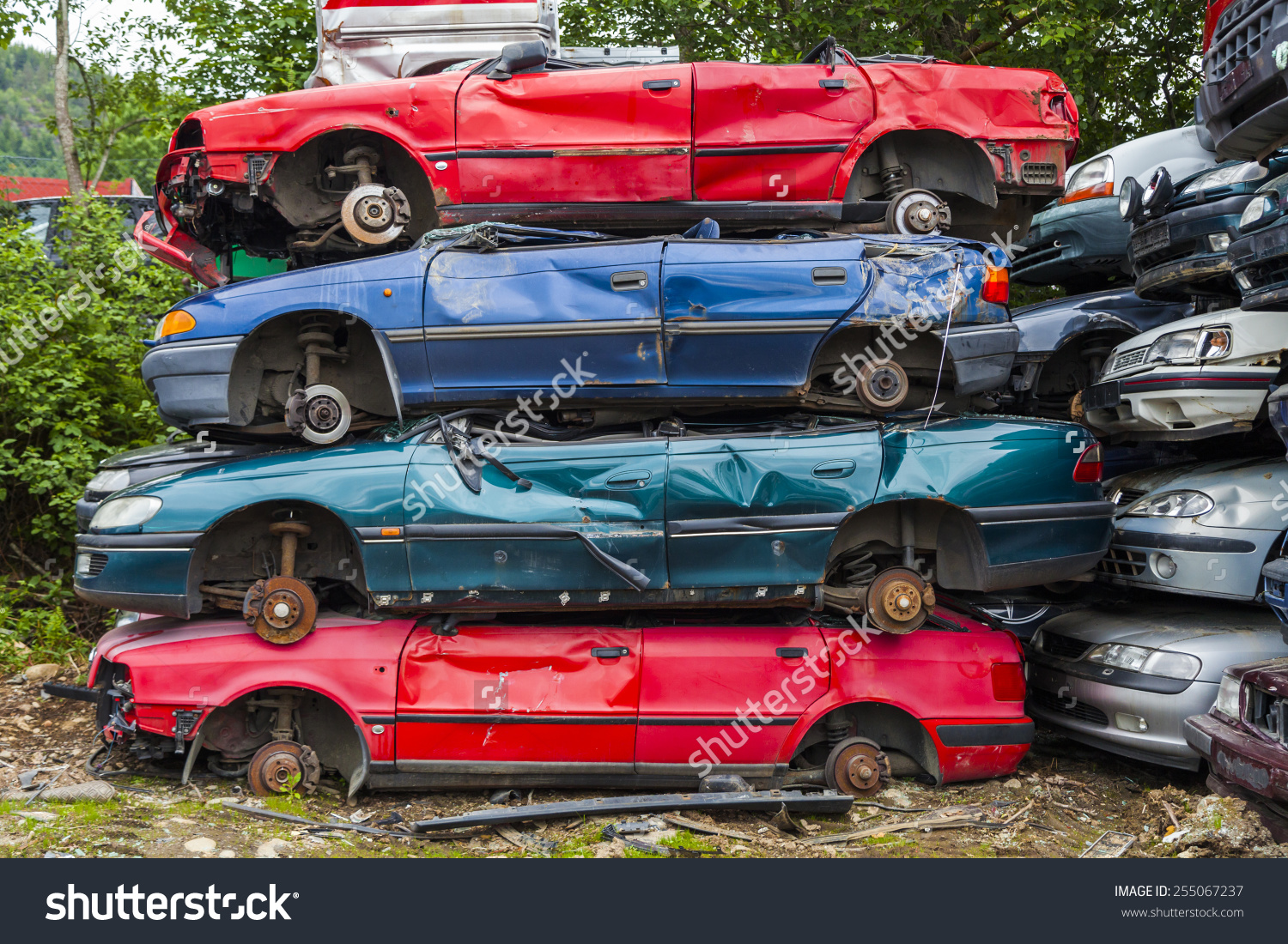Dump Broken Crashed Cars Cemetery Cars Stock Photo 255067237.