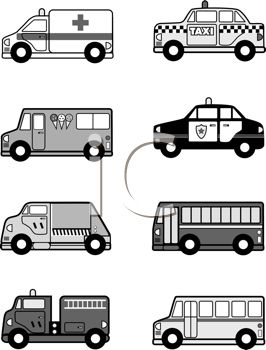 Black and White Collection of Public Vehicles.