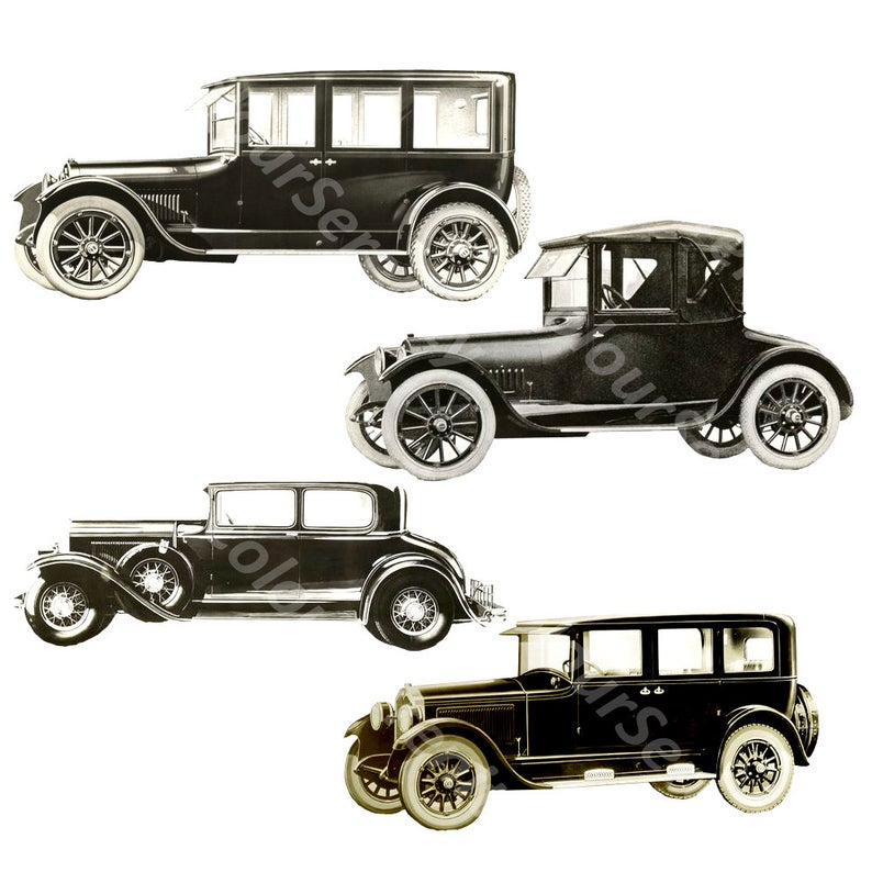 Vintage Cars Clipart Black and White Sepia PNG transparent.