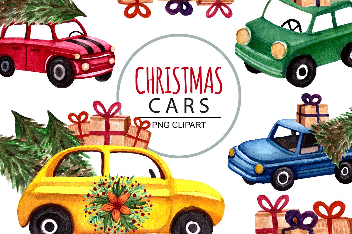 watercolor christmas cars, clipart.