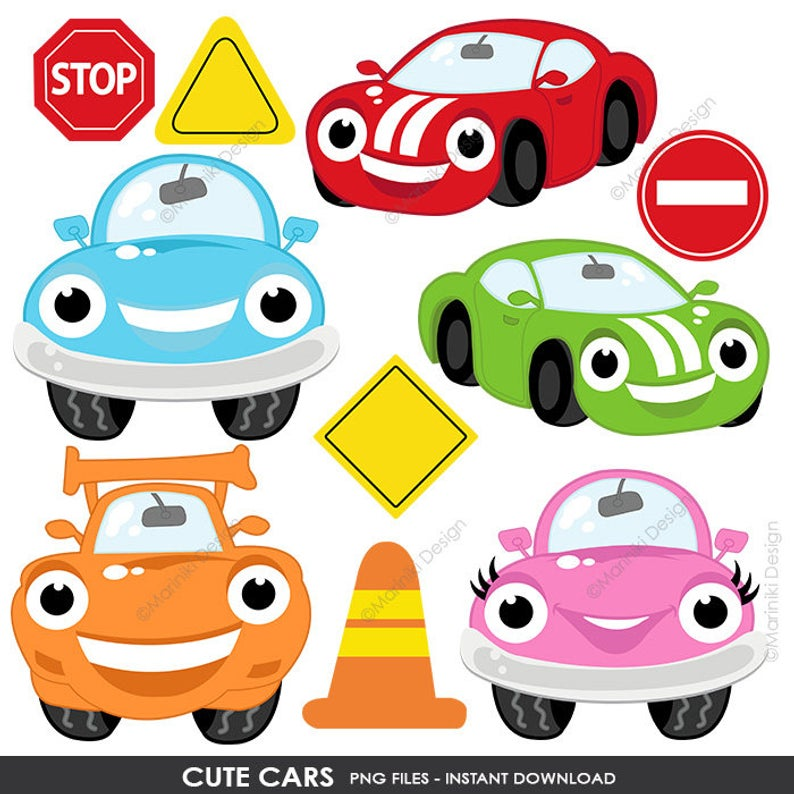 Cute Cars Clipart, Transportation Clip Art, On the Road, Road Sign, Boys  Graphic for Craft & Scrapbook INSTANT DOWNLOAD CLIPARTS C111.