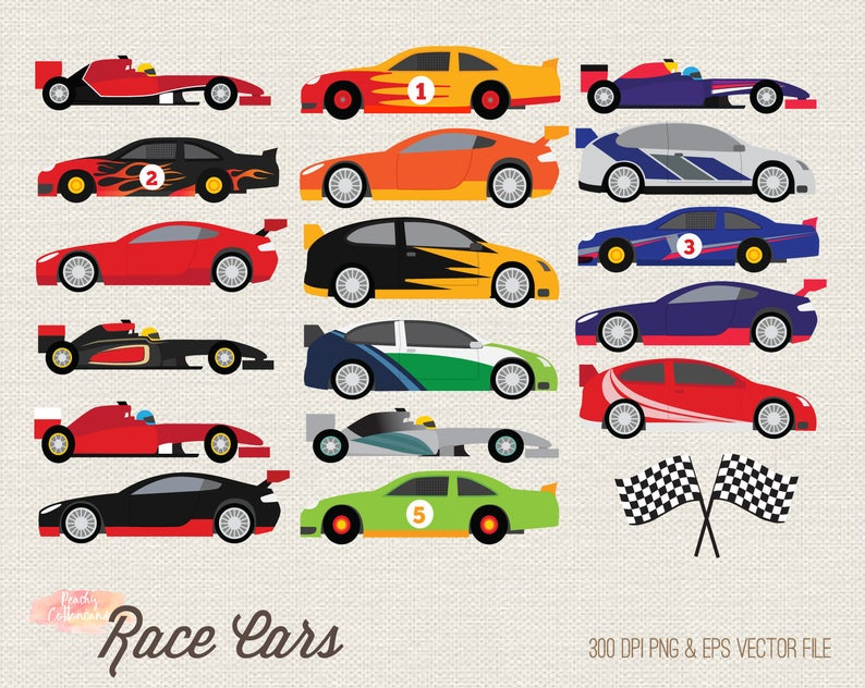 BUY 2 GET 1 FREE Race car clipart.