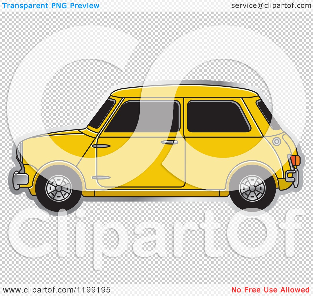 Clipart of a Vintage Yellow Morris Mini Car.