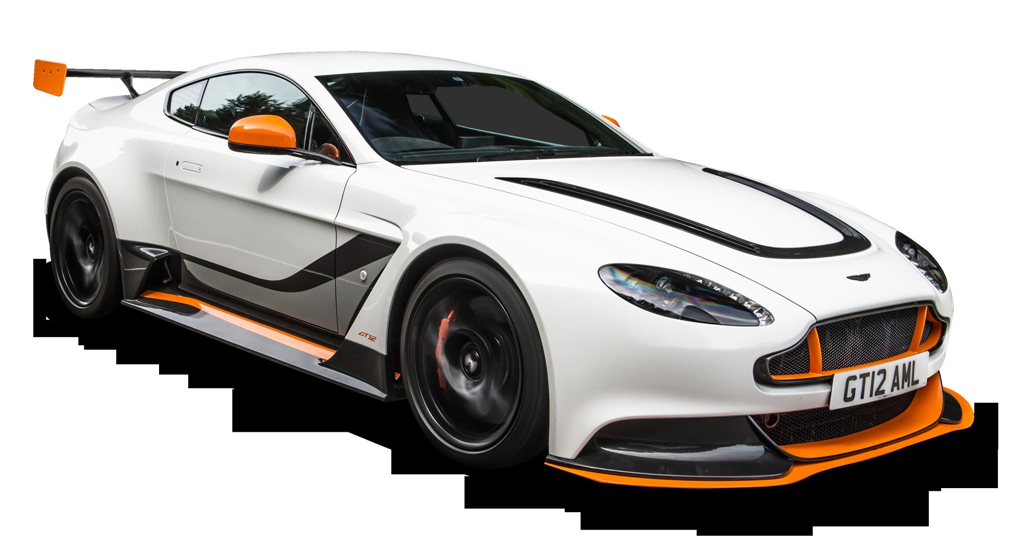 Aston Martin Vantage White Car PNG Image.