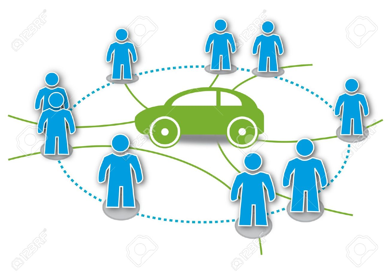 Carsharing, Autoteilen, Statdteilauto, Symbol Royalty Free.