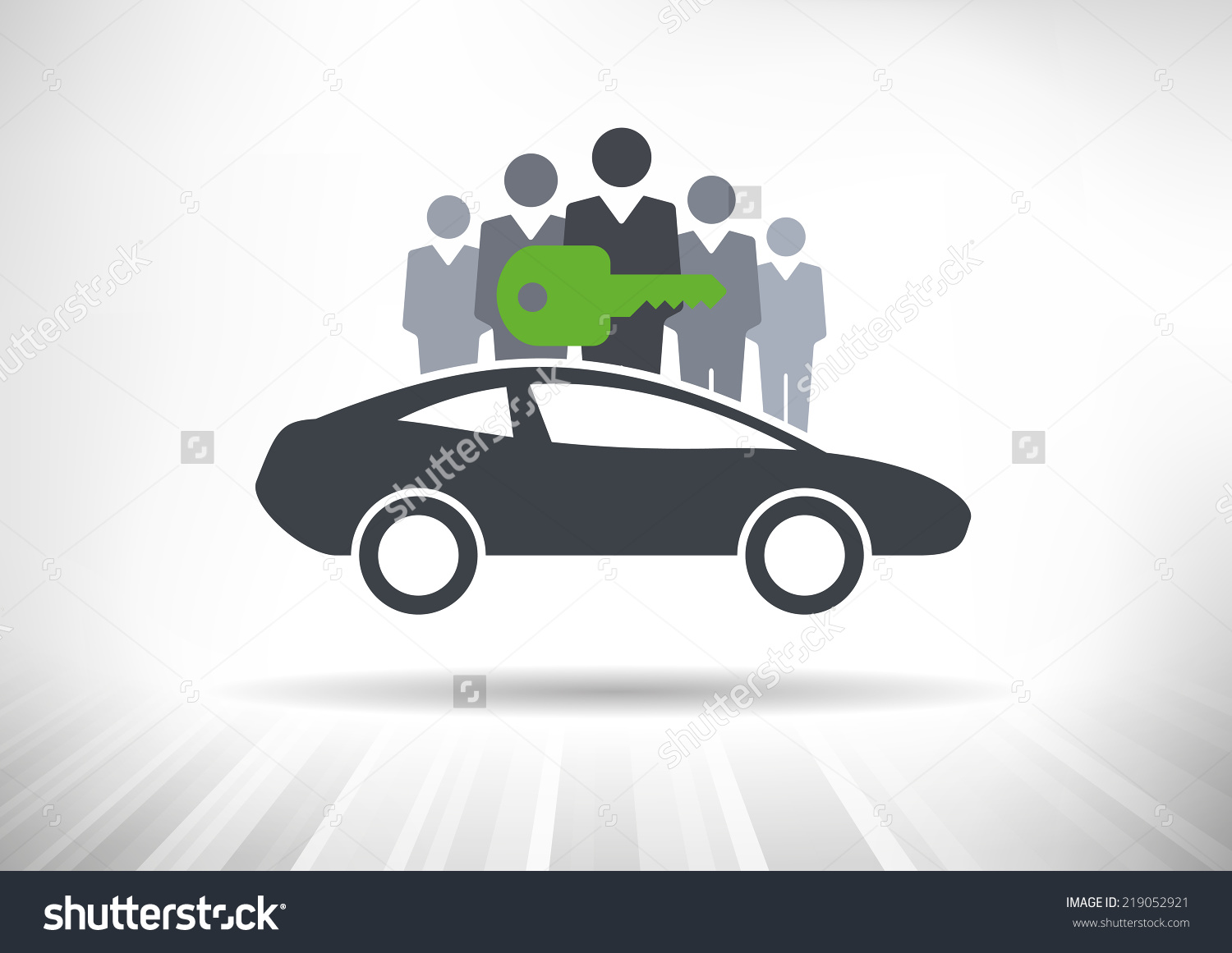 Car Sharing. Group Of People With Shared Key Behind Car Stock.