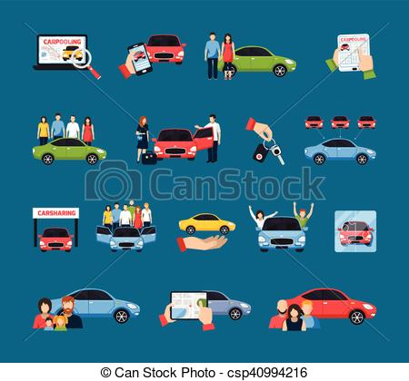 Vector Clip Art of Carsharing Icons Set.