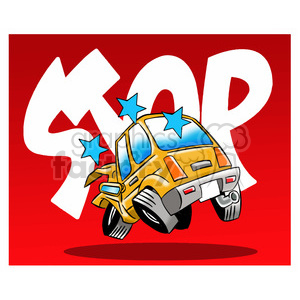 cartoon car sick from accident clipart. Royalty.