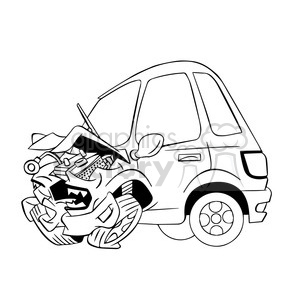 cartoon car sick from accident black and white clipart. Royalty.
