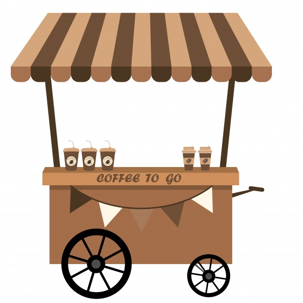 Coffee Cart Clipart Free Stock Photo.