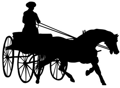 Horse and buggy clipart.