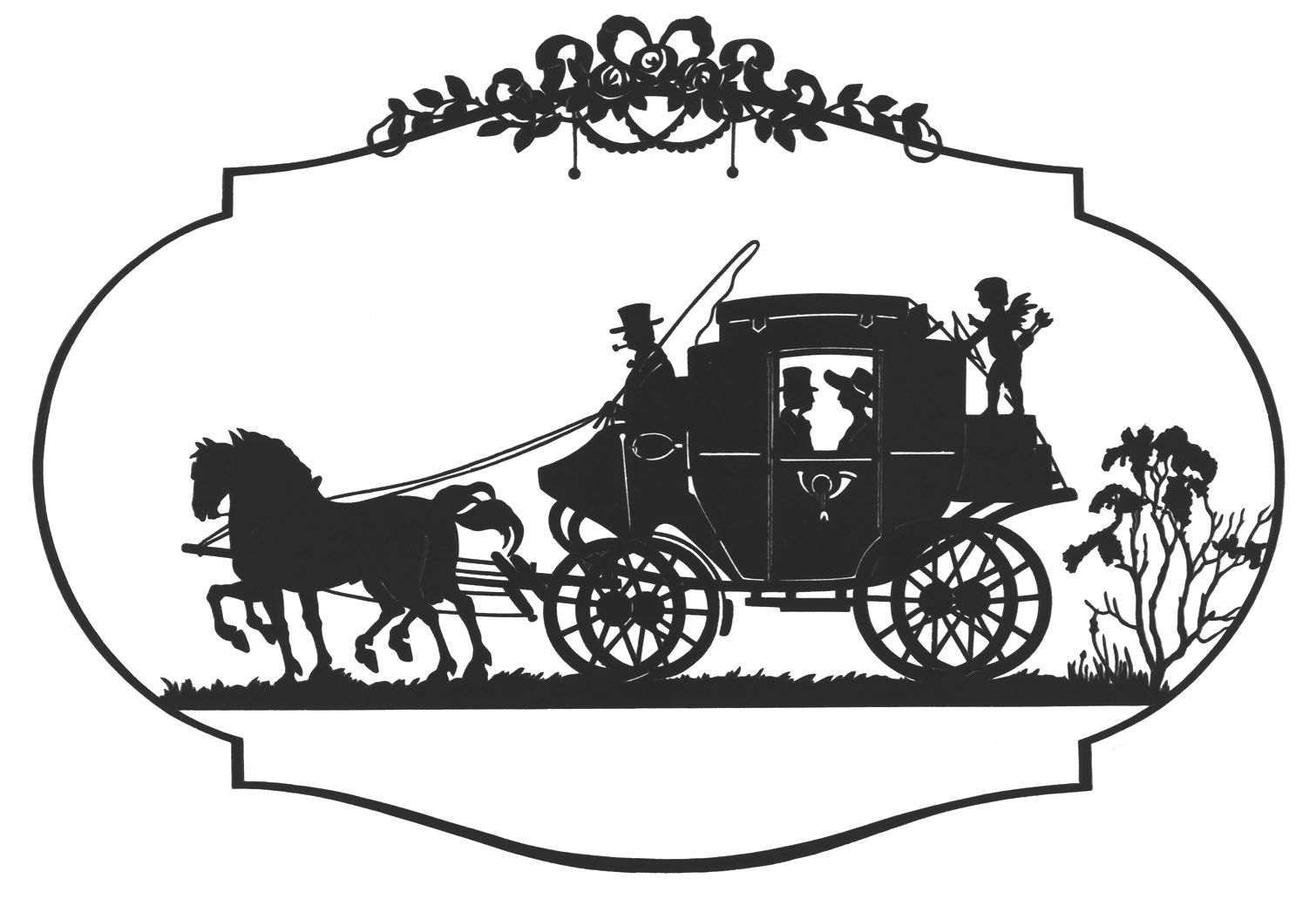 Horse drawn wagon clipart.