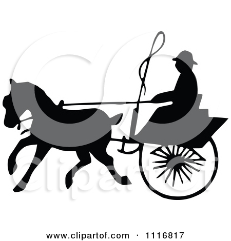 Clipart Of Silhouetted Black And White Single Horse Drawn Cart 4.