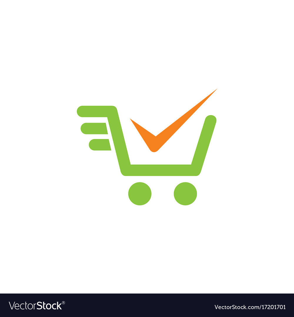 Shopping cart check mark logo.